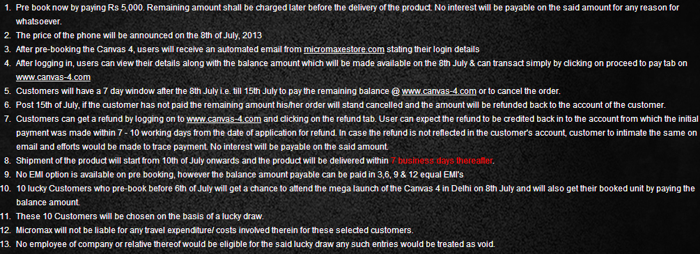 canvas 4 pre order terms and conditions