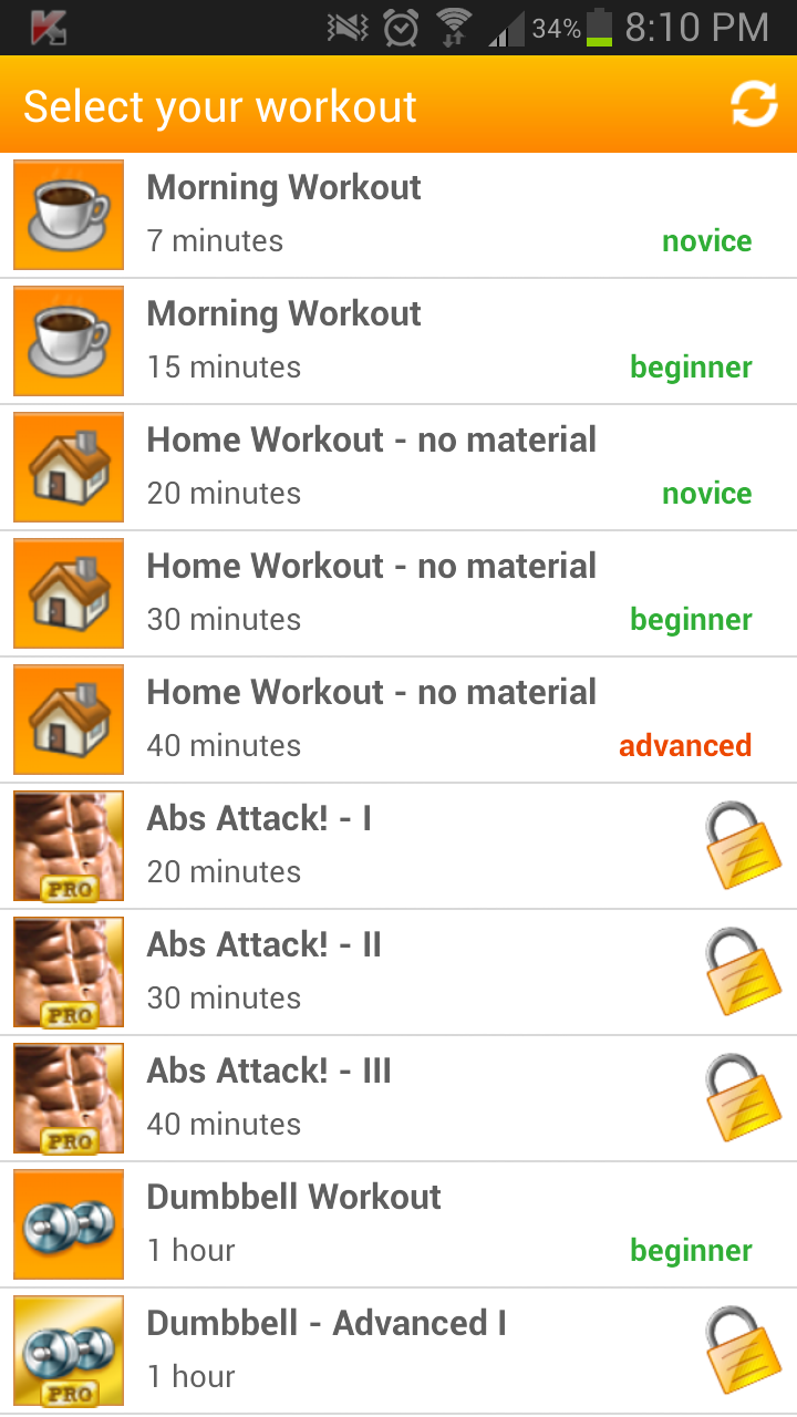 VirtuaGym workout options