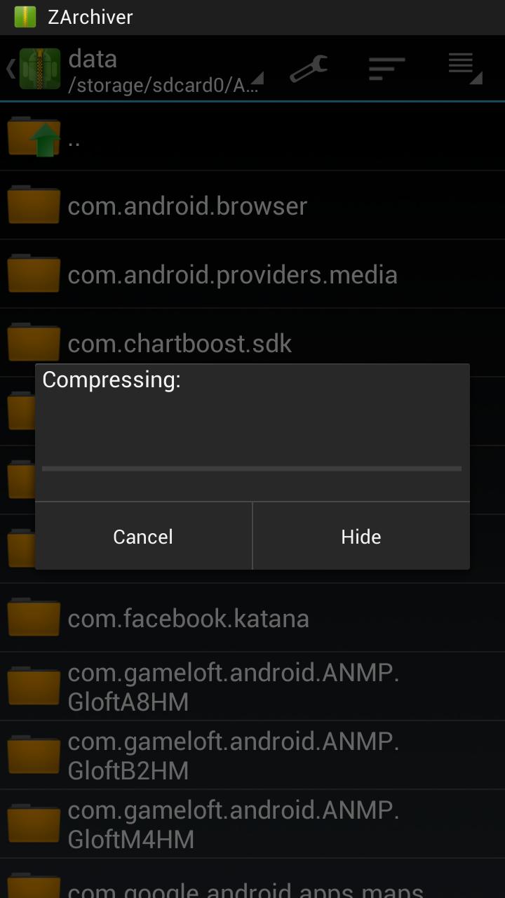 ZArchiver Compression Dialog Box