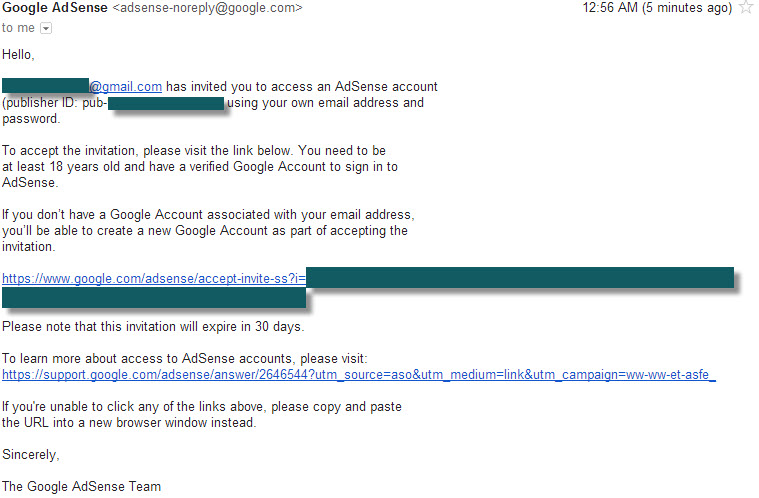 adsense email confirmation after addition of new user