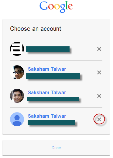 remove google account new log in page