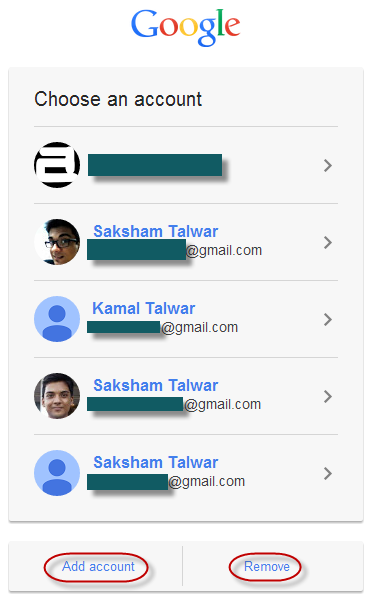 sign in using different google account new log in page