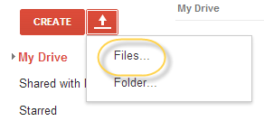 google drive upload option