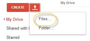 google drive upload option