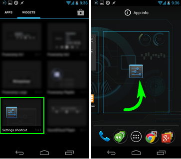 settings shortcut android