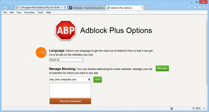 adblock plus internet explorer options