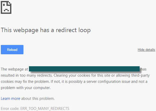 Error 310: This webpage has a redirect loop