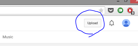 Upload button in YouTube