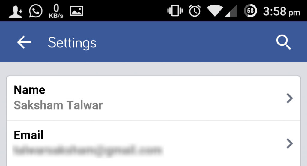 disable facebook email using facebook android app