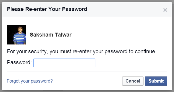 facebook enter password to confirm setting change