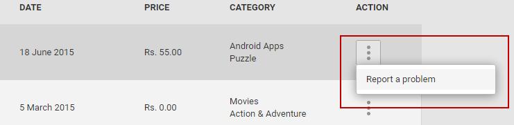 google play report a problem