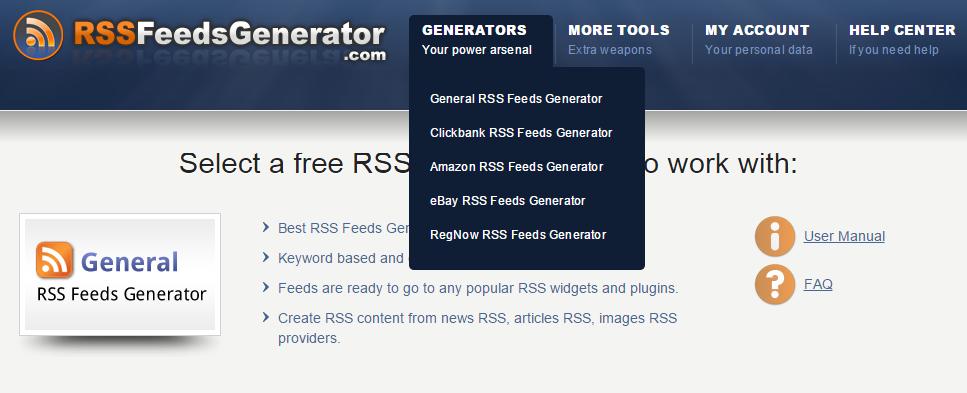 rss feeds generator