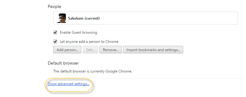 see advanced google chrome settings