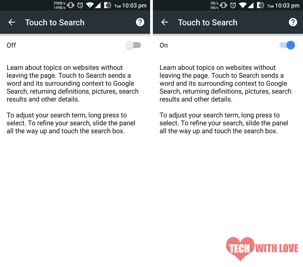 enable touch to search on google chrome for android 2