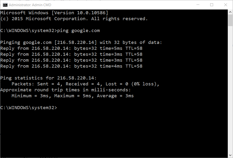 google ping results in command prompt