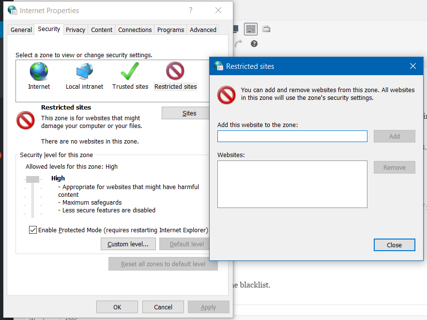 restricted sites dialog windows