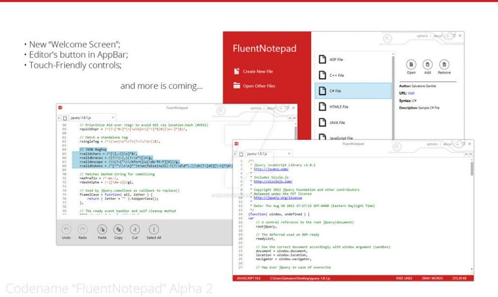 fluent notepad screenshot