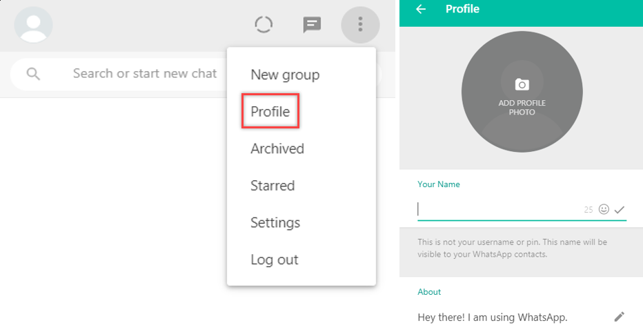 change whatsapp profile picture and about section on browser