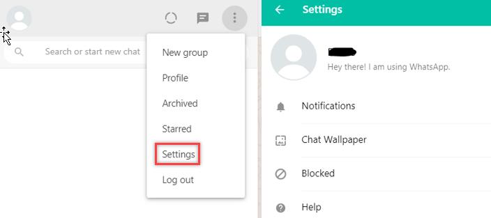 change whatsapp web settings